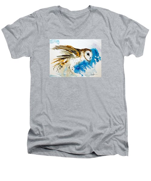 Da145 Barn Owl Ruffled Daniel Adams Men's V-Neck T-Shirt