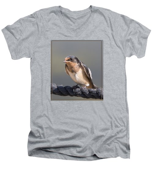 Men's V-Neck T-Shirt featuring the photograph Barn Swallow On Rope I by Patti Deters