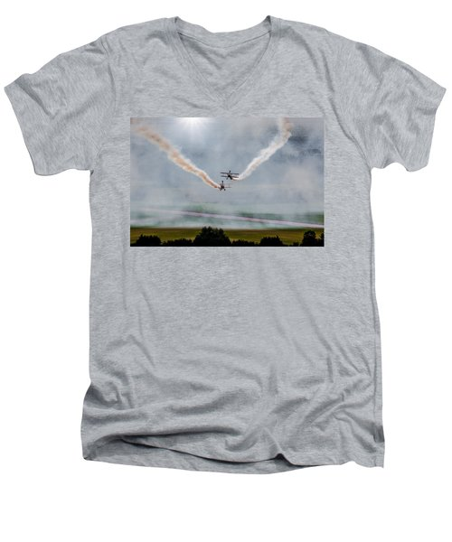 Men's V-Neck T-Shirt featuring the photograph Barnstormer Late Afternoon Smoking Session by Chris Lord