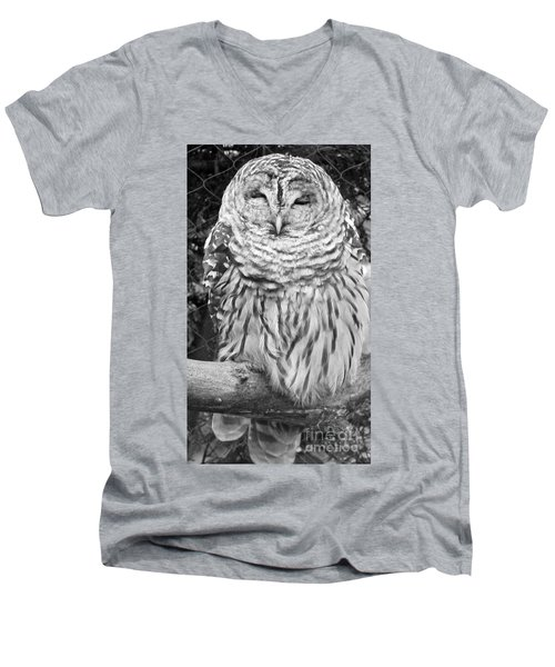 Men's V-Neck T-Shirt featuring the photograph Barred Owl In Black And White by John Telfer