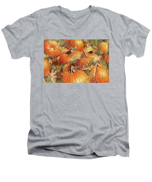 Bask In The Pumpkin Patch  Men's V-Neck T-Shirt by Natalie Ortiz