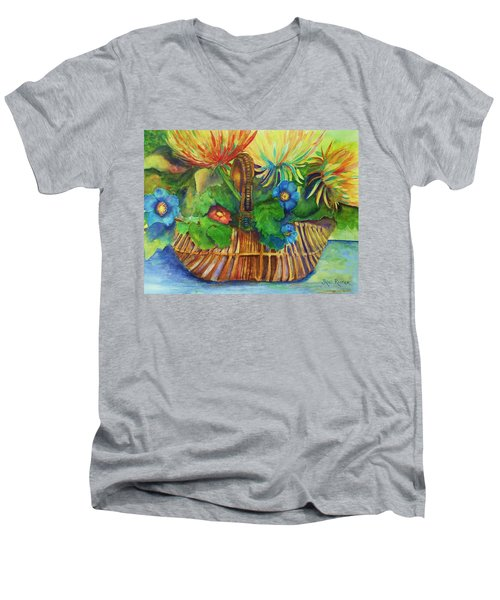 Flowers In My Basket Men's V-Neck T-Shirt