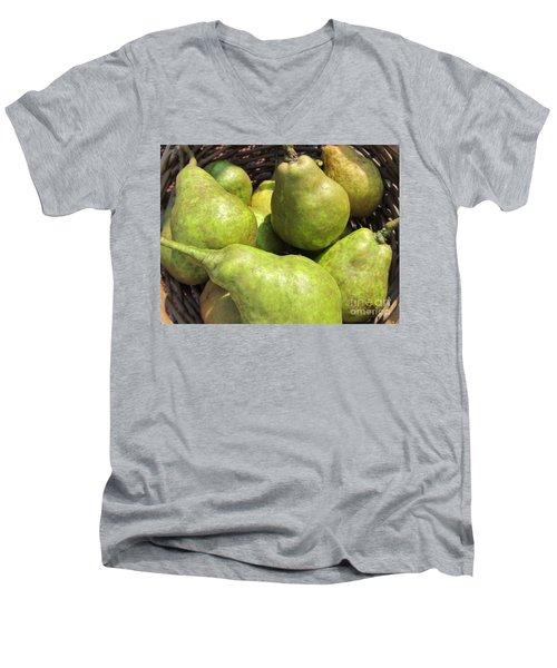 Basket Of Green Pears Men's V-Neck T-Shirt by Susan Carella