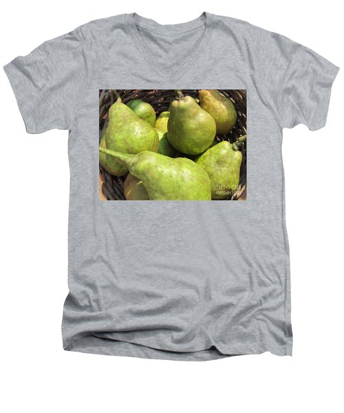 Basket Of Green Pears Men's V-Neck T-Shirt