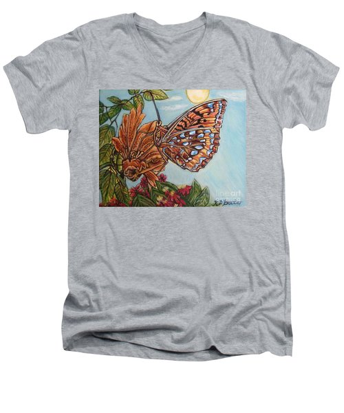 Basking In The Warmth Of The Sun In A Tropical Paradise Painting Men's V-Neck T-Shirt by Kimberlee Baxter