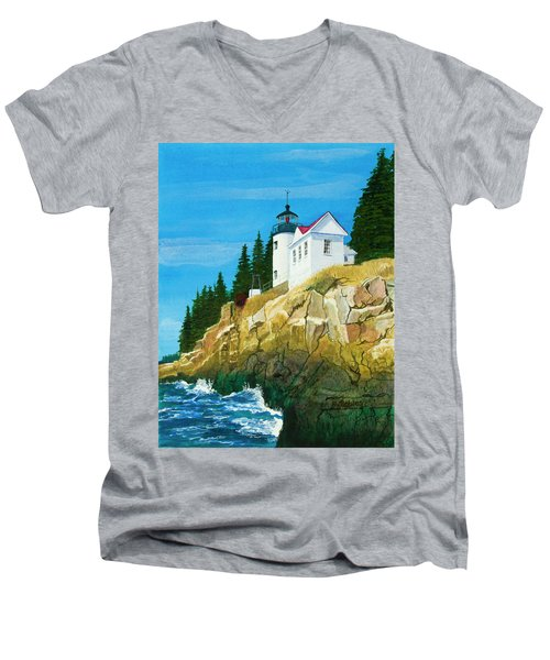 Bass Harbor Lighthouse Men's V-Neck T-Shirt by Mike Robles