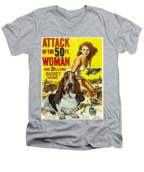 Basset Hound Art Canvas Print - Attack Of The 50ft Woman Movie Poster Men's V-Neck T-Shirt
