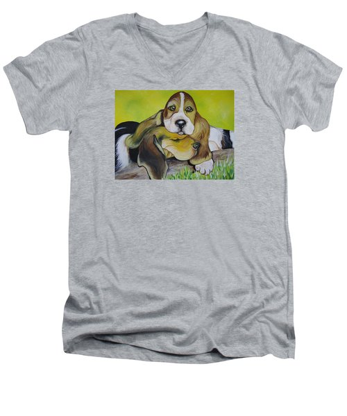 Bassett Hound Pups Men's V-Neck T-Shirt
