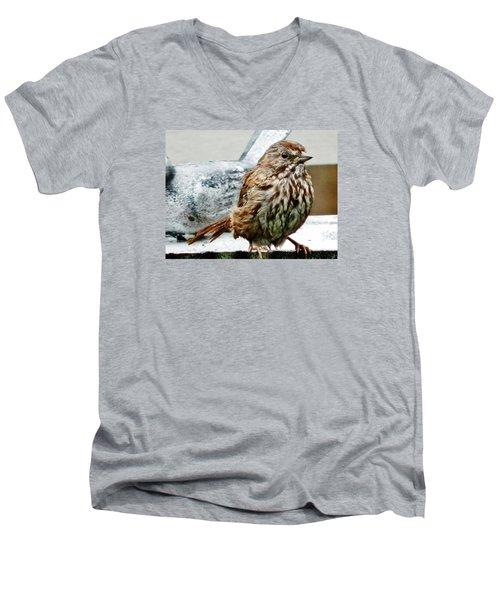 Men's V-Neck T-Shirt featuring the photograph Bathe Then Fluff by VLee Watson
