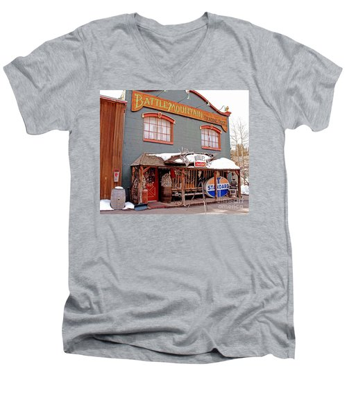 Men's V-Neck T-Shirt featuring the photograph Battle Mountain Trading Post by Fiona Kennard