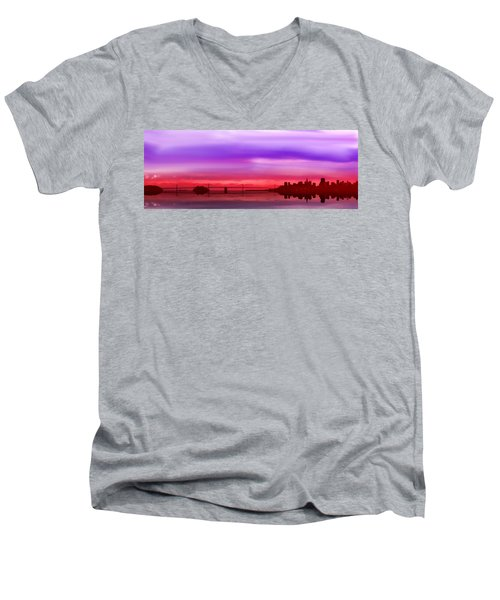 Bay Bridge San Francisco Men's V-Neck T-Shirt by Lynn Bolt