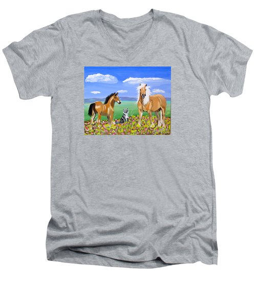 Bay Colt Golden Palomino And Pal Men's V-Neck T-Shirt by Phyllis Kaltenbach