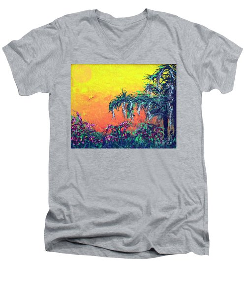 Men's V-Neck T-Shirt featuring the painting Bayou Honeymoon by Alys Caviness-Gober