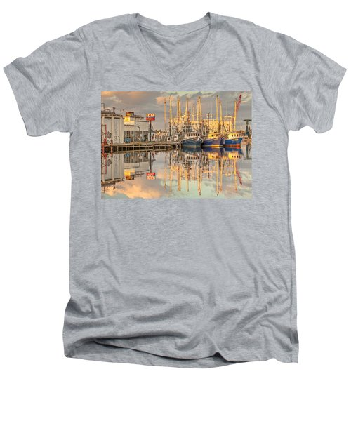 Bayou La Batre' Al Shrimp Boat Reflections 39 Men's V-Neck T-Shirt