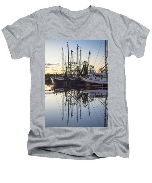 Bayou La Batre' Al Shrimp Boat Reflections 43 Men's V-Neck T-Shirt
