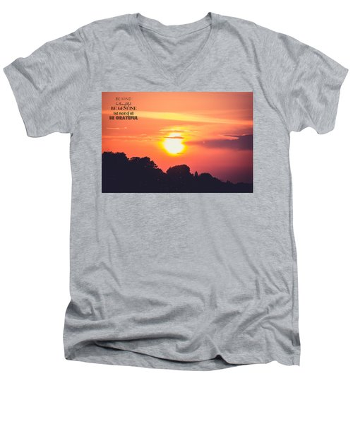 Be Grateful Men's V-Neck T-Shirt by Sara Frank