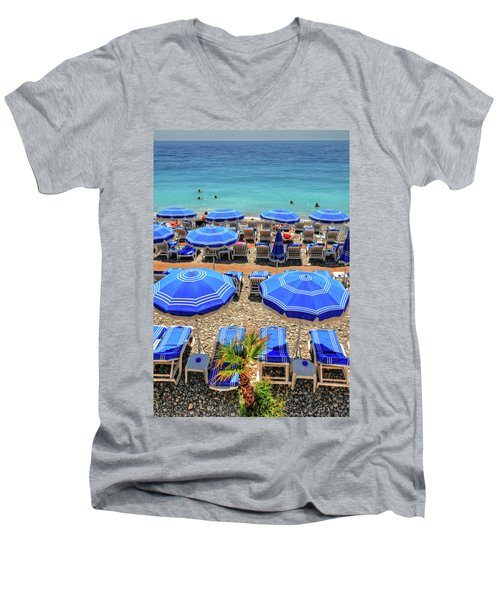Beach At Nice France Men's V-Neck T-Shirt