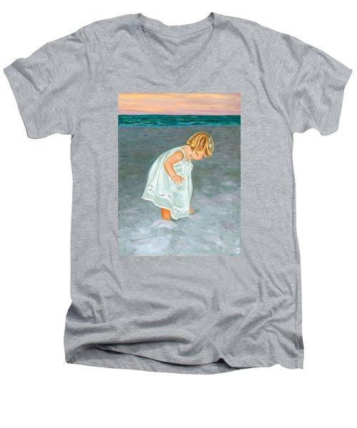 Beach Baby In White Men's V-Neck T-Shirt