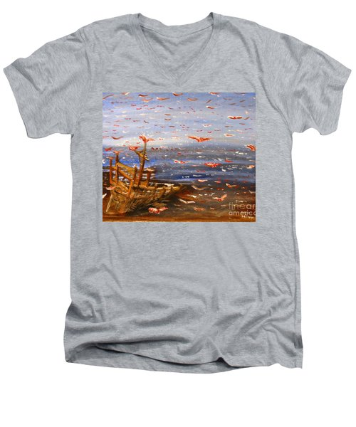Beach Boat And Birds Men's V-Neck T-Shirt