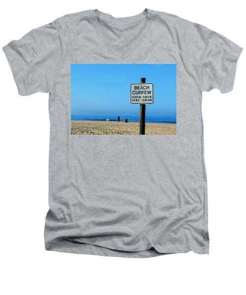 Beach Curfew Men's V-Neck T-Shirt by Tammy Espino