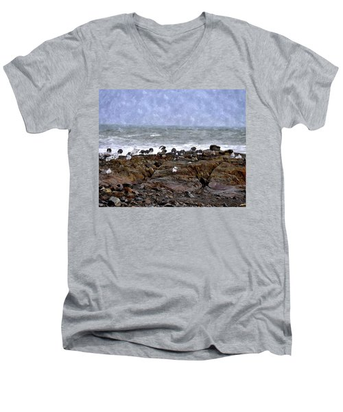 Beach Goers Bgwc Men's V-Neck T-Shirt by Jim Brage