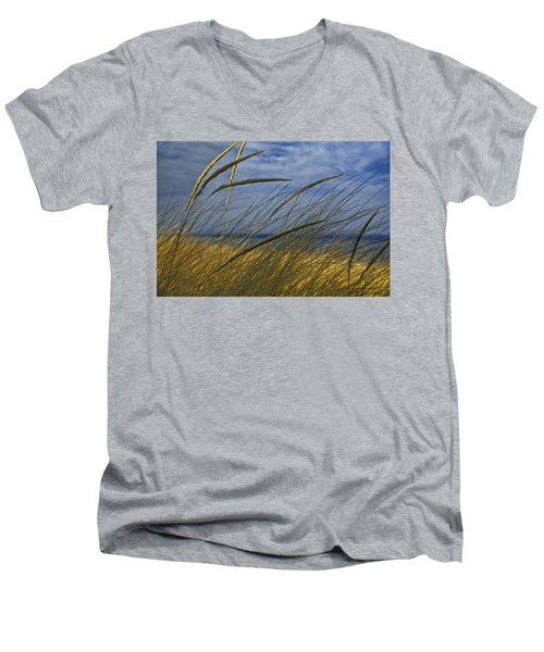 Beach Grass On A Sand Dune At Glen Arbor Michigan Men's V-Neck T-Shirt