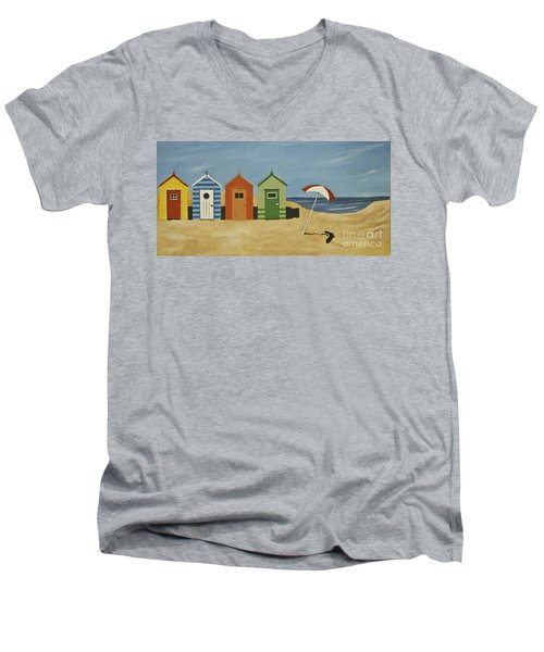 Beach Huts Men's V-Neck T-Shirt