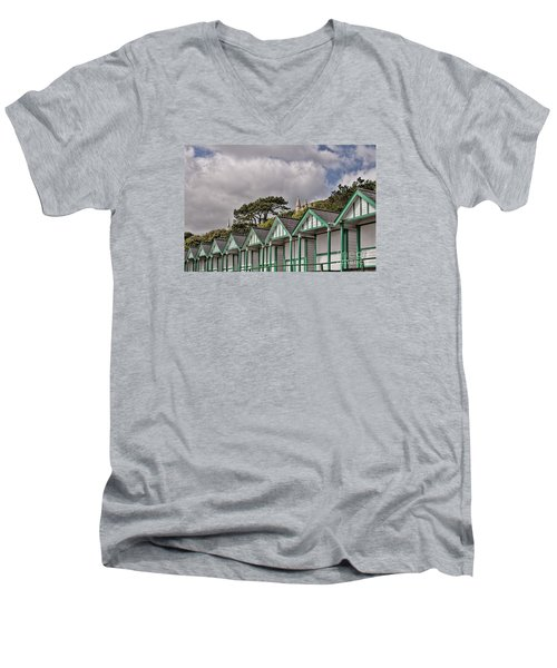 Beach Huts Langland Bay Swansea 3 Men's V-Neck T-Shirt