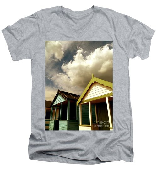 Men's V-Neck T-Shirt featuring the photograph Beach Huts by Vicki Spindler