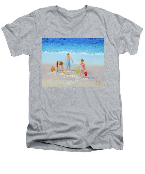 Beach Painting - Sandcastles Men's V-Neck T-Shirt