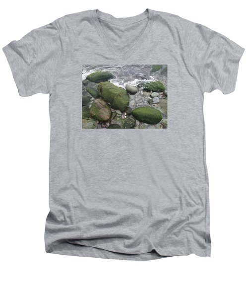 Men's V-Neck T-Shirt featuring the photograph Beach Rocks by Robert Nickologianis