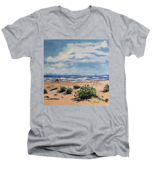 Beach Scene On Galveston Island Men's V-Neck T-Shirt