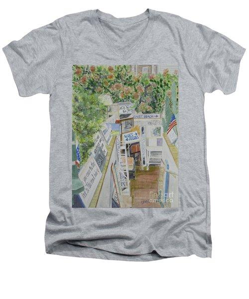 Beach Signs Men's V-Neck T-Shirt by Carol Flagg