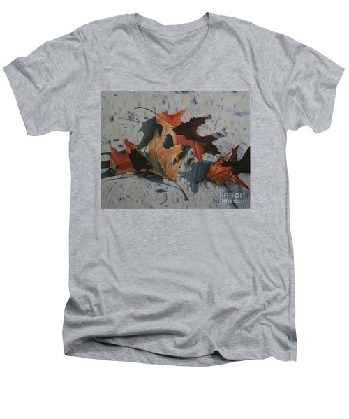 Men's V-Neck T-Shirt featuring the painting Beach Still Life by Pamela Clements