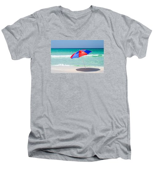 Beach Umbrella Men's V-Neck T-Shirt by Shelby  Young
