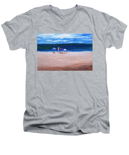 Men's V-Neck T-Shirt featuring the painting Beach Umbrellas by Jamie Frier