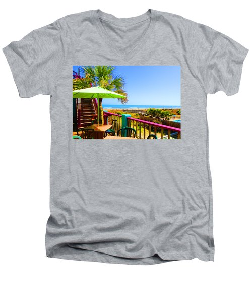 Beach View Of The Ocean By Jan Marvin Studios Men's V-Neck T-Shirt
