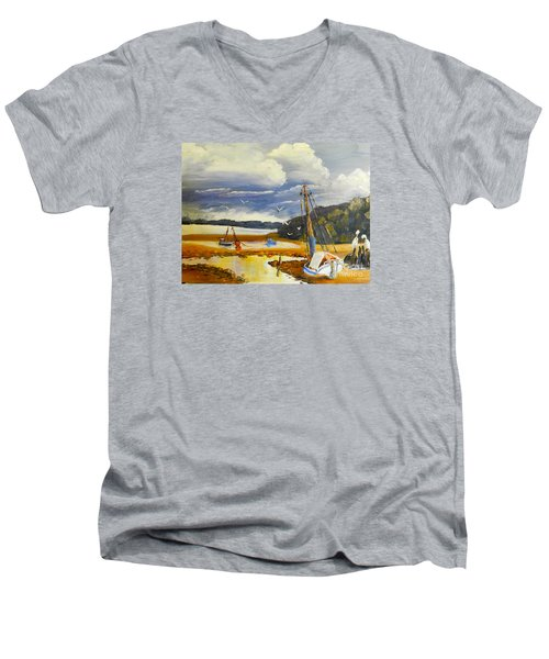Beached Boat And Fishing Boat At Gippsland Lake Men's V-Neck T-Shirt by Pamela  Meredith