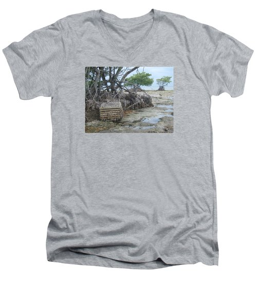 Men's V-Neck T-Shirt featuring the photograph Beached Lobster Trap by Robert Nickologianis