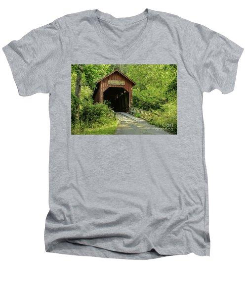 Bean Blossom Covered Bridge Men's V-Neck T-Shirt by Mary Carol Story