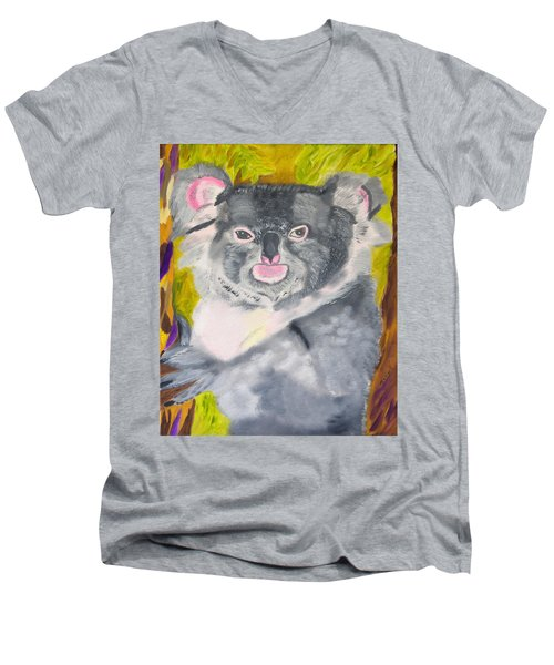 Koala Hug Men's V-Neck T-Shirt by Meryl Goudey