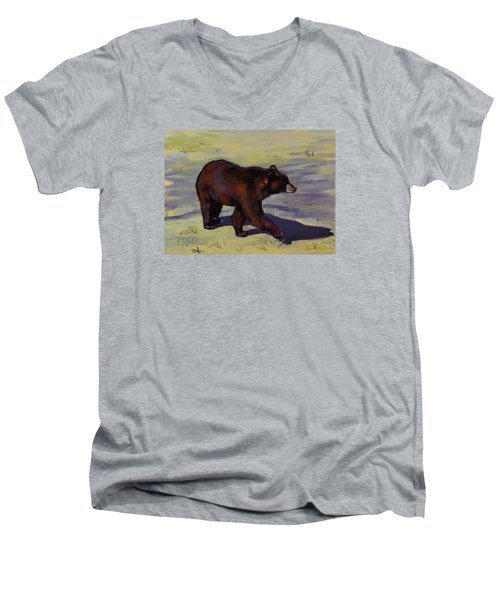 Men's V-Neck T-Shirt featuring the painting Bear Shadows by Pattie Wall