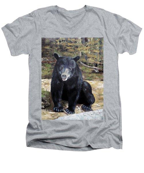 Bear - Wildlife Art - Ursus Americanus Men's V-Neck T-Shirt by Jan Dappen