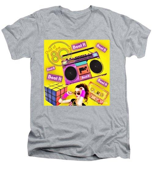Beat It Men's V-Neck T-Shirt by Mo T