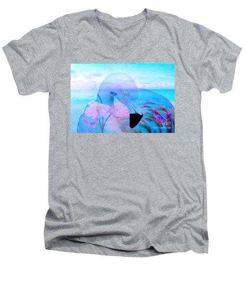 Beautiful Flamingo Men's V-Neck T-Shirt by Annie Zeno