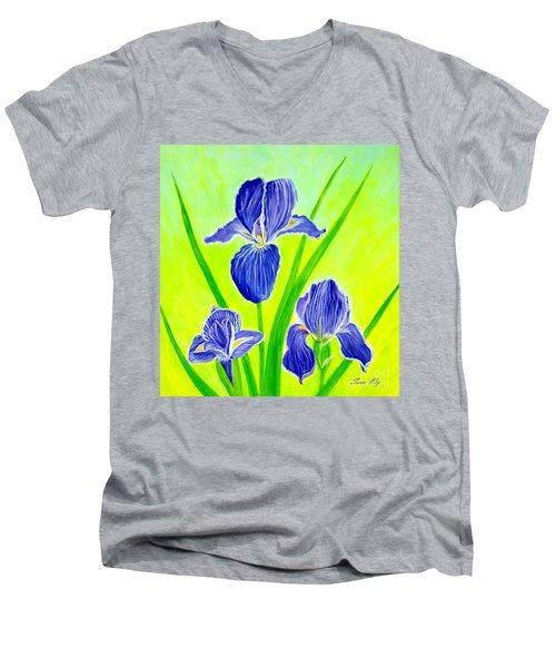 Beautiful Iris Flowers Card Men's V-Neck T-Shirt