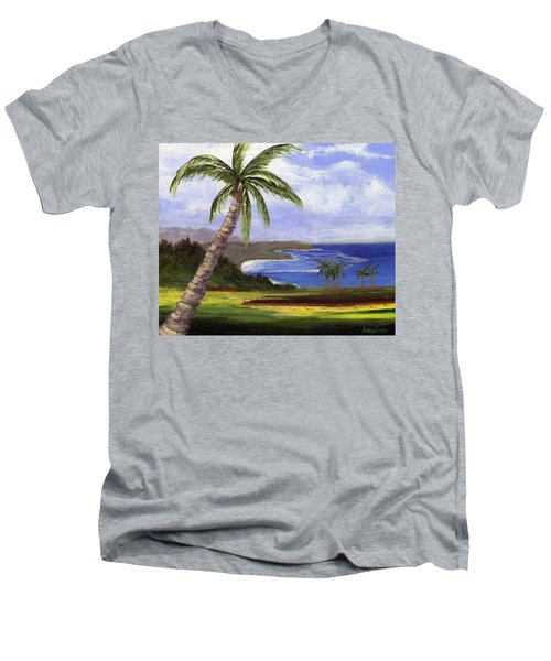 Men's V-Neck T-Shirt featuring the painting Beautiful Kauai by Jamie Frier