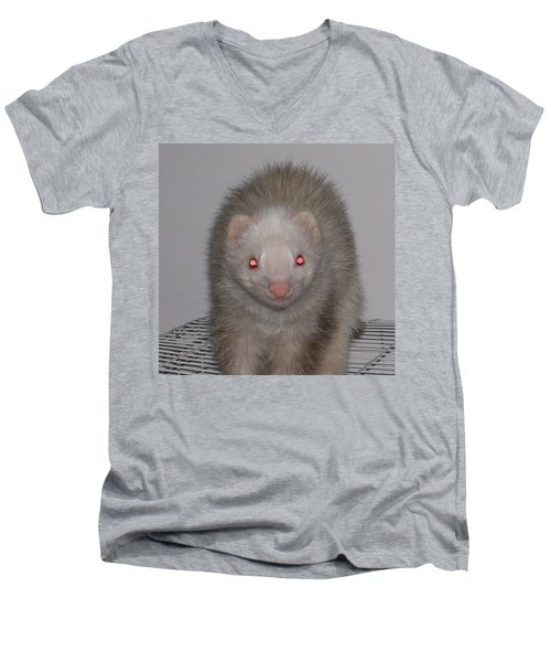 Men's V-Neck T-Shirt featuring the photograph Beautiful Panda Ferret by Belinda Lee
