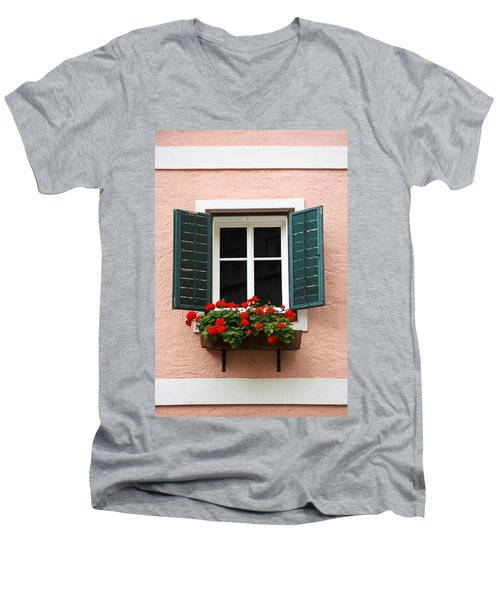 Beautiful Window With Flower Box And Shutters Men's V-Neck T-Shirt