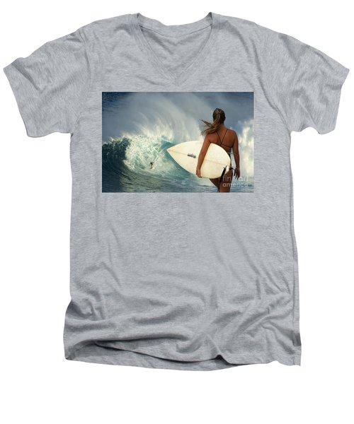 Surfer Girl Meets Jaws Men's V-Neck T-Shirt by Bob Christopher